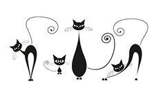 Platin Art Wall Decal Deco Sticker, Black Cats