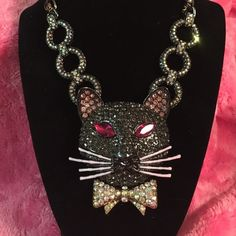 """Betsey johnson cat necklace dark shadows Brand new, huge cat head necklace from the dark shadows collection, the sparkle is truly amazing!! From top of ear to bottom of bow tie is 3"""" and he is 2"""" wide Betsey Johnson Jewelry Necklaces"""