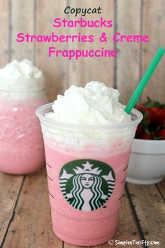 Here is another delicious drink to try! Copycat Starbucks Strawberries and Creme Frappuccino.