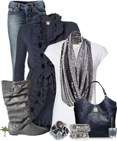 """Tee, Cardigan and Jeans"" by cindycook10 on Polyvore"