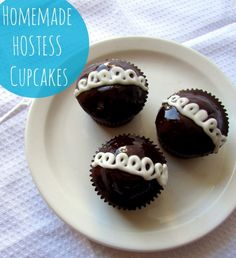 Homemade Hostess Cupcake recipe. See more party ideas and recipes at CatchMyParty.com. #recipe #cupcakes #chocolate