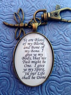 """""""Outlander Blood Vow Quote Keychain,"""" by EnchantedElement on Etsy -- Item has sold out, but the provider has other """"Outlander"""" merchandise at the click-through. Outlander Quotes, Outlander Book Series, Outlander 3, Starz Series, Outlander Tattoos, Outlander Jewelry, Outlander Casting, Outlander Wedding, Outlander Gifts"""
