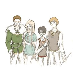 Goblet of Fire champions Harry Potter More, Harry Potter Artwork, Harry Potter Drawings, Harry Potter Anime, Harry Potter Magic, Harry Potter Hogwarts, Harry Potter Fandom, Harry Potter Universal, Fantastic Beasts