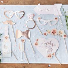 Gastgeschenke - Foto Accessoires Hochzeit Fotobox Bilder Roségold - ein Designerstück von LottesLaden bei DaWanda