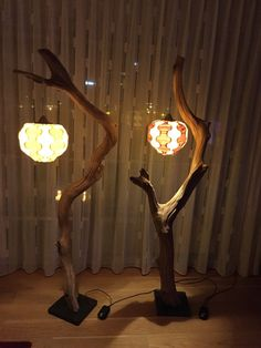 Floor lamp or little arc lamp made of weathered old Oak branch on black natural stone base, including cord with dimmer switch and round lampshade made of real wood veneer, round 36 high and 28 cm, total lamp height is 173 cm, or with two tone lampshade round 28 cm and in four colors.  Oak branch is naturally weathered without sapwood and wind dried naturally in the forest, the color varies from light brown to gray weathered wood tones. The contraction scour in the wood caused by natural…