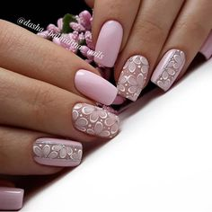 Nail art is a very popular trend these days and every woman you meet seems to have beautiful nails. It used to be that women would just go get a manicure or pedicure to get their nails trimmed and shaped with just a few coats of plain nail polish. Pink Nail Designs, Nail Designs Spring, Spring Nail Art, Spring Nails, Matte Nails, My Nails, Matte Pink, Silver Nails, Black Nails