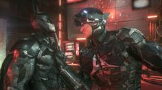 Batman and the Arkham Knight meet face to face at last. Batman Arkham Games, Batman Games, Batman Arkham Knight, Batman And Superman, Nightwing, Batgirl, Catwoman, Supergirl, Marvel Heroes