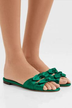 Tabitha Simmons - Cleo Bow-embellished Satin Slides - Emerald