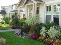 landscaping around a deck | Small Front Yard Landscape Ideas with the flowers