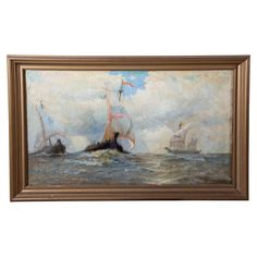 Vintage Oil Painting of Viking Ships by K.E. Felix (1837-1906)