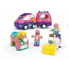 $39.99 - Clip-clop, clip-clop - here?s a happy pony set! This cute and chunky nine-piece set features a friction-powered car with a realistic engine sound, detachable horsebox with a magnetic hook, push-button tailgate, shape-sorting roof rack, girl and boy riders, two color-coded ponies, a pony jump, and two stackable hay bales. rDimensions: 14 1/4 x 7 1/4 x 4 1/2 Vroom…Vroom. See all our fascinating cars right here!