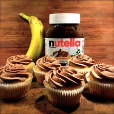 Stinas Kager: Banan cupcakes med Nutella frosting