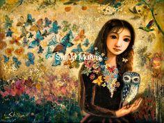 Girl, Owl and Butterflies Art Print-Museum Quality Paper Prints by Shijun Munns-Wall Art-Art gift-Giclee art print Spiritual Paintings, Butterfly Art, Butterflies, Painting Wallpaper, Spring Art, Owl Art, Art Store, Abstract Canvas, Fine Art Gallery