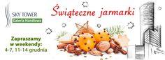 Świąteczne Jarmarki - 4-7 grudnia GH Sky Tower  Z okazji zbliżającego się okresu świątecznego Galeria Handlowa Sky Tower organizuje Świąteczny Jarmark.  Każdy, kto docenia walory smakowe naturalnych produktów, a przede wszystkim dba o zdrowie swoje i najbliższych będzie mógł skorzystać z ofert poszczególnych wystawców. Wszystkie produkty oferowane podczas jarmarku są robione wedle starych receptur, a ich wspaniały smak i aromat przypomina domowy zapiecek.