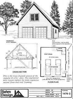 Garage With Loft Plan No. by Behm Design- Attic Truss creates loft and roof. Includes internal stairway to loft. A great garage for the hobbyist or home business . 2 Car Garage Plans, Garage Plans With Loft, Loft Plan, Garage Loft, Garage Apartment Plans, Garage Studio, Garage Shed, Garage Apartments, Garage Storage
