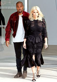 Kim Kardashian and Kanye West  attend the Louis Vuitton Show as part of the Fashion Week.