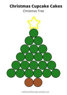 All Pull-Apart Cupcake Cake Templates Christmas Tree Cupcake Cake, Christmas Tree Template, Christmas Cupcakes Decoration, Holiday Cupcakes, Christmas Desserts, Christmas Treats, Cupcake Template, Cake Templates, Pull Apart Cupcake Cake