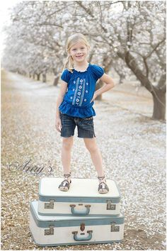 Kids Styled Spring Session - Almond Orchard Pics - Spring Flowers - Family Photography - Props www.ricketyswak.com Vintage Suitcases Vintage Photo Props Spring Mini sessi…