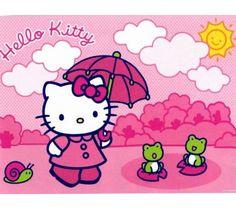 Kitty's pink umbrella