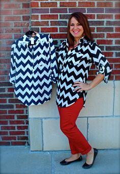 Chevron top - $35 Available in black/white or navy/white Call 317-889-1150 or email jen@jendaisy.com to order!