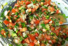 How to Make Pico De Gallo (Fresh Salsa) -- I make it like this, but I use oranges instead of limes-- my favorite salsa recipe! Authentic Mexican Recipes, Mexican Food Recipes, Great Recipes, Favorite Recipes, Ethnic Recipes, I Love Food, Good Food, Yummy Food, Dips