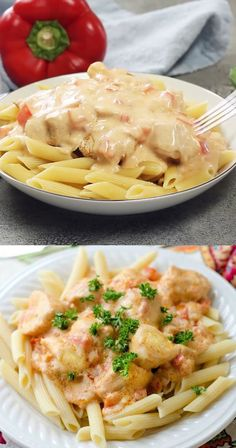 Chicken Breast with Sour Cream Sauce - The sour cream sauce is flavored with onion, sweet red peppers, garlic, paprika and chicken broth. It has an amazing rich flavor with a smooth and creamy texture. Pasta Dishes With Chicken, Sauce For Chicken, Cream Sauce Pasta, Sour Cream Sauce, Asian Noodle Recipes, Best Chicken Recipes, Healthy Meal Prep, Healthy Recipes, Sour Cream Chicken