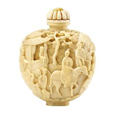 ❤ - Chinese Ivory Snuff Bottle--Jiaqing Mark and of the Period.  Totally stealing this layered carved ivory idea for yet another polymer clay project.