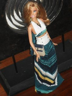 Barbie Doll Clothes -Blue Multi Striped Maxi skirt and Halter top Outfit w/ handbag