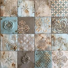 Set Of 6 Ceramic Tiles Bathroom Decorative Outdoor Wall Art Kitchen Sculpture Turquoise 30cm Fabric Patterns