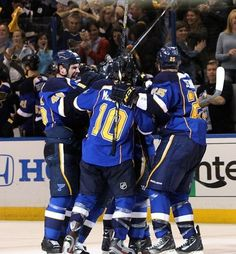 Another group hug! The Blues won 6-1 against the Dallas Stars! Who says six isn't a serious number?