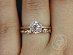 Kyla 5mm & Ember 14kt Rose Gold Morganite and Diamond Cushion Halo Wedding Set (Other metals and stone options available) by RosadosBox on Etsy https://www.etsy.com/listing/183618593/kyla-5mm-ember-14kt-rose-gold-morganite