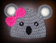 Koala Handmade Custom Crochet Beanie Hat Newborn Baby Photo Prop Boy Girl. $20.00, via Etsy.