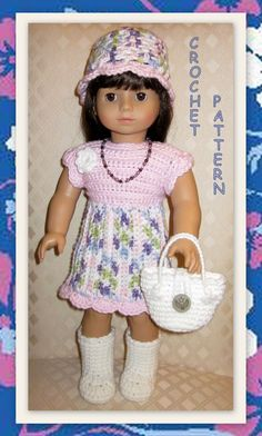 """CROCHET PATTERN 18 to make adorable doll clothes designed for 18"""" dolls"""