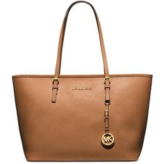 MICHAEL MICHAEL KORS Jet Set Top-Zip Saffiano Tote ($278) ❤ liked on Polyvore