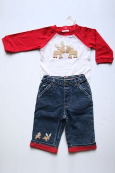 "Gymboree ""Colorful Village"" jeans and bodysuit. Adorable holiday/Christmas outfit for a baby boy! (Size 3 - 6 Months, New With Tags)"