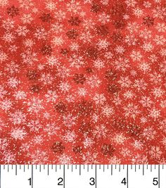 "Keepsake Calico? Holiday Cotton Fabric 43"" - Red Glitter Snowflake"