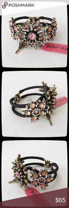 Betsey Johnson 'The Vintage' Bracelet *Very HTF!* Black ribbon/fabric wrapped metal, lovely crystal flowers. Comes with store tag. New condition. Searched for one like it online & couldn't find it. Great bracelet! Betsey Johnson Jewelry Bracelets