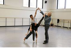 NYCB's Lauren Lovette and Taylor Stanley rehearse Peter Martins' new ballet with Martins. Photo by Paul Kolnik.