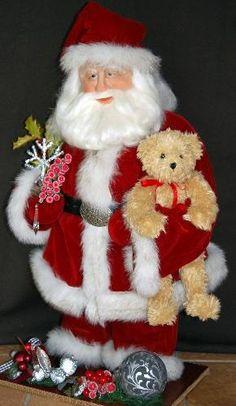 Santa Claus Dolls, handmade, sculpted by Lynn Burr of Snowflake Bay Santa & Friends