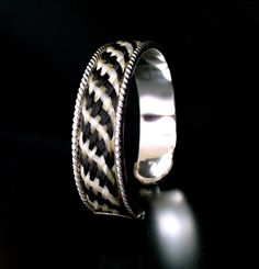 10mm Rope Edged Cuff Bracelet inlaid with flat horse hair plait in sterling silver
