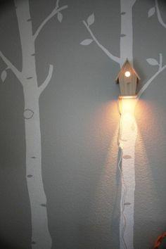 idée cadeau naissance aplique pour le mur de la chambre de bébé en forme de maison d'oiseaux