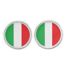"""""""Italian Flag"""" Silver Plated Cufflinks makes a great gift!"""