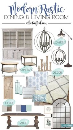 Modern Rustic Dining & Living Room Inspiration & mood board // One Room Challenge | A Shade Of Teal