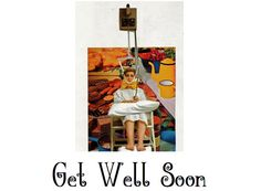 Get Well Soon Card, Vintage Quirkiness Medical Fetish Oddball Art, Funny Weird PicNic Out To Lunch, Seventies Colorful Hospital Humor Fun by thelovelyugly on Etsy