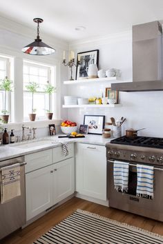 michelle adams kitchen || marble countertops with white cabinets + open shelving