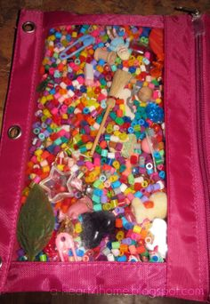 A simpler way for I Spy page - use pony beads for more colorful look and a zipper pouch with grommets that go in a binder. Finished Friday: I Spy Bags - All Our Days Sensory Bins, Sensory Activities, Sensory Play, Toddler Activities, Dementia Activities, Montessori, I Spy, Busy Bags, Child Life