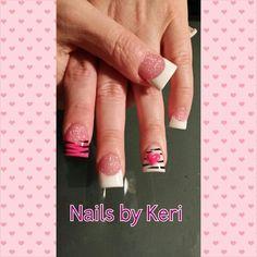 Zebra Valentine's Day nails