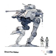 """A Star Wars walker based on the """"All Terrain Attack Pod."""" I gave it more traditional Imperial looking legs and, out of appreciation for kitbash, appropriated WWII German equipment, namely, the 88 Pak 43 gun and the Panzer II turret. Bb8 Star Wars, Star Wars Droids, Star Wars Clone Wars, Walker Star Wars, Nave Star Wars, Star Wars Spaceships, Arte Nerd, Science Fiction, Star Wars Vehicles"""
