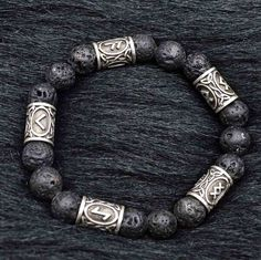 Norse Vikings Rune Lava Bracelets Nordic Talisman Jewelry For Men #jewelryformen