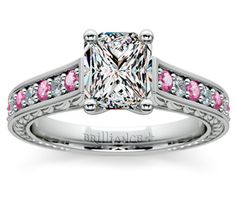 Radiant Antique Diamond & Pink Sapphire Gemstone Engagement Ring in White Gold  http://www.brilliance.com/engagement-rings/antique-diamond-pink-sapphire-gemstone-ring-white-gold